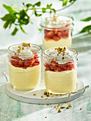 Strawberries with whipped cream and joghurt