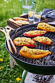 Grilled pepper stuffed with cous-cous and Balkan cheese