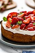 A homemade strawberry cake, made with almond flour