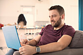 Man working from home on laptop