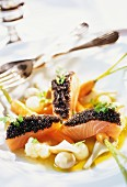 Salmon, caviar and baby vegetables