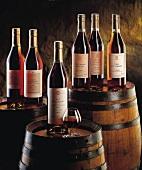 Flaschen von Cognac und Armagnac auf Holzfässern