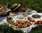 picnic with herb omelette, terrine in jelly, bagnat bread and ratatouille