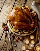 Festive stuffed turkey with white sausage and hazelnuts
