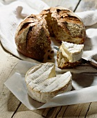 Camembert, bread and knife