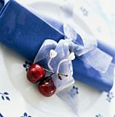 cherries with napkin