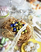 Nest of mini eggs for Easter