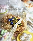 Nest of mini eggs for Easter