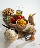 Selection of organic products:rice,corn,tomatoes and mushrooms