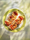 Skewers of gambas, tomatoes, fennel and sesame
