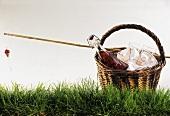 Picknick-Korb mit Rotweinflasche, Gläsern und Angelrute auf Gras