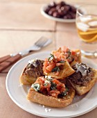 Crostini fettunta and crostini di fegatini