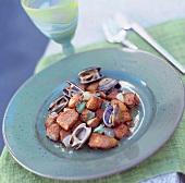 Sautéed pork with clams