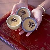 mini tea-flavored cream desserts