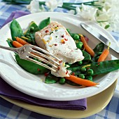 Fish with baby vegetables