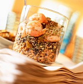 Sprouting seeds and steamed prawn salad