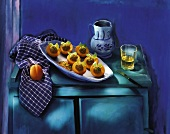 apricots stuffed with meatballs and celery