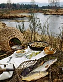 Meal prepared after fishing
