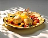 Dessert ice cream with calisson fruits