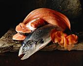 Frischer Lachs, ganz und portioniert