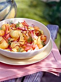 Pasta with prawns and melon