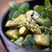 Green Asparagus and Zucchini Salad with Mint