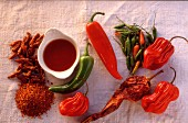Assortment of raw chili powder and sauce
