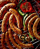 Sausages cooking on the barbecue