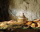 Getreide-Stillleben mit Suppenterrine