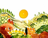 Kiwi, broccoli, courgettes, bay leaves and orange