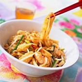 Thai noodles with shrimps