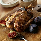 Duckling stuffed with figs and duck foie gras