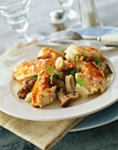 Pan-fried spiny lobster and squid with chanterelles