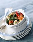 Lobster, spiny lobster, Dublin Bay prawn and asparagus salad