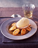 Shortbread biscuit on roast bananas , Vin de Paille granita