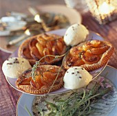 Dried apricot puff pastry tartlets with lavanda ice cream