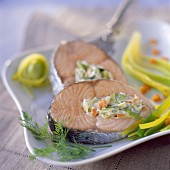 Salmon with spring vegetable stuffing