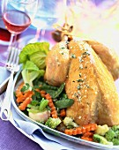 Roast chicken with baby vegetables