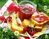 Slices of pound cake with cherry jam