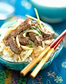 Chinese sautéed beef and rice