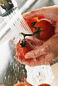 rinsing tomatoes under tap