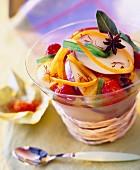 Fruit in jasmine herbal tea