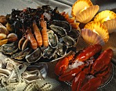 Verschiedene Meeresfrüchte und Schalentiere auf edel gedecktem Tisch