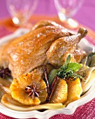 Roast chicken with pineapple