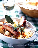 Grilled savoie diot pork sausage with white beans