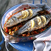 Roasted bass with aniseed and lemon