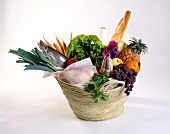 Basket of market produce
