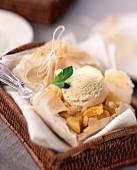 Peaches in Sauternes filo pastry dessert