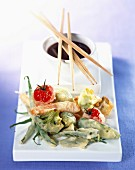 Vegetable tempuras with curry sauce