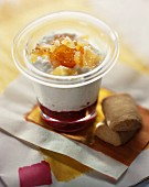 Fromage blanc mousse with summer fruit puree and candied fruit